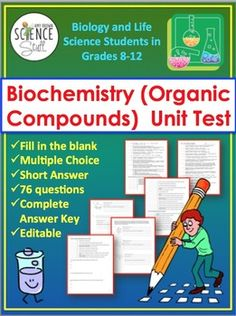 Practice chemistry with worked chemistry problems chemistry biochemistry unit test the chemistry of biology organic compounds fandeluxe Gallery