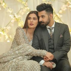 So cute MashaAllah and at their Valima ceremony. Pakistani Wedding Outfits, Pakistani Bridal, Indian Outfits, Bridal Mehndi Dresses, Wedding Dresses, Indian Wedding Couple Photography, Lehnga Dress, Bridal Musings, Pakistani Actress