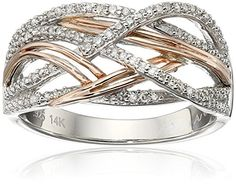 Sterling Silver and 14k Rose Gold Interwoven Diamond (.15cttw, I-J Color, I2-I3 Clarity) Ring, Size 7 Amazon Collection http://www.amazon.com/dp/B00JXOY0HI/ref=cm_sw_r_pi_dp_jWV1wb1NQF1Q4