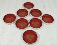 Red on White Metal Coasters Collection  Vintage by DivineOrders, $11.00