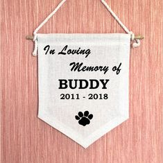 Pet sympathy card on canvas banner to remembrance the loss of a pet. Your pet name that you want will be printed on the banner as in the photo.  Enter text in the personalization field (max. 50 characters) Banner size 6,3 x 7,9 Inches Comes on a bamboo stick and white cotton lace. | Etsy Pet Sympathy Cards, Sympathy Gifts, Cotton Lace, White Cotton, Pet Loss Gifts, Personalized Banners, Cat Memorial, Name Banners, Pet Names