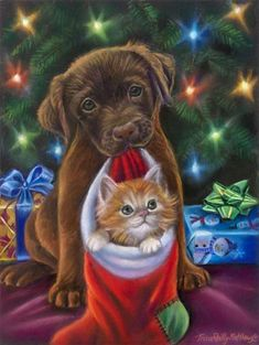 Holiday Joy by Tricia Reilly-Matthews Christmas Scenes, Christmas Pictures, Winter Christmas, Christmas Kitten, Christmas Animals, Whimsical Christmas, Vintage Christmas, Image Originale, Christmas Paintings