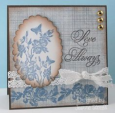 Stamps: Impression Obsession (F8647 Worn Rose Branch, C8652 Vintage Rose Spray,  D8675 Love Always, CC049 Cover a Card Screen)  Papers: www.discountcardstock.com (Neenah Solar White 80#, Nautical Blue Medium 70#)  Ink: Clearsnap Chalk ink  Ribbon: Really Reasonable Ribbon  Die cuts: Sizzix Framelits ( Scallop Oval)