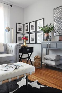 One Room Challenge, Week 6: Urban Chic Living Room Tour | corner gallery wall from framed & matted with photos of our European travels