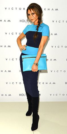 blue-and-navy striped Victoria Beckam dress with boots and a massive clutch David And Victoria Beckham, Victoria Beckham Style, Holi, Posh And Becks, Celebrity Style Inspiration, Spice Girls, Dress With Boots, Look Fashion, Unique Fashion