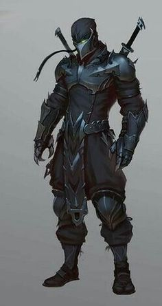 Black Armor with Twin Swords on Back