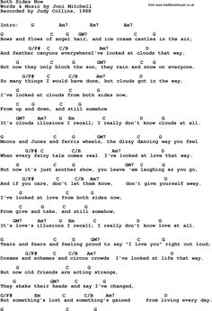 Song Lyrics with guitar chords for Both Sides Now - Judy Collins, 1968 Ukulele Songs Beginner, Easy Guitar Songs, Guitar Chords For Songs, Uke Songs, Music Chords, Ukulele Chords, Music Guitar, Song Lyrics And Chords, Music Lyrics