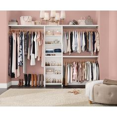 ClosetMaid Impressions Basic 60 Zoll B 120 Zoll W White Wood Closet Das Home Depot Closet Makeover Bedroom Closet Design, Glam Bedroom, Closet Designs, Small Closet Design, Small Home Interior Design, Boutique Interior Design, Bedroom Decor, Dressing Room Closet, Spare Room Closet