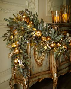 Frosted Gold Christmas Garland at Neiman Marcus. Christmas Fireplace, Christmas Mantels, Noel Christmas, All Things Christmas, White Christmas, Christmas Wreaths, Christmas Crafts, Christmas Ornaments, Christmas Design