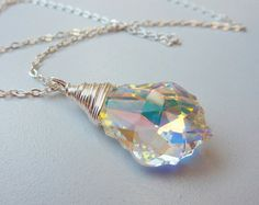 Sparkly crystal necklace clear crystal pendant by AprilSparkles