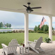 Rustic finishes and vintage details bring the Hunter Port Royale outdoor ceiling fan to life. The roasted maple blade finishes complement the lantern-inspired light fixture and energy-efficient LED Edison bulb. This farmhouse-inspired ceiling fan includes a handheld remote for easy changes to fan speed and light dimming. The damp rated Port Royale ceiling fan is perfect for covered porches and patios as well as indoor living rooms and bedrooms.