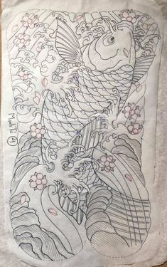 Japanese Koi Fish Tattoo, Koi Fish Drawing, Fish Drawings, Asian Tattoos, Tribal Tattoos, Fish Tattoos, Carp Tattoo, Hannya Mask Tattoo, Tattoo Templates