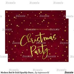 Modern Red & Gold Sparkly Stars Christmas Party Invitation Modern Christmas, Red Christmas, Holiday Parties, Holiday Fun, Holidays With Kids, Happy Holidays, Christmas Party Invitations, Gold Stars, Custom Invitations