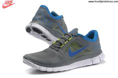 Buy 2013 New Mens Nike Free Run 3 Cool Grey Royal Blue Shoes Shoes Shop