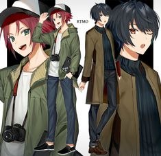 Mao and Ritsu, by Imotarere Cute Anime Boy, I Love Anime, Anime Guys, Happy Tree Friends, Vocaloid, Boy Character, Boy Poses, Anime Crossover, Ensemble Stars