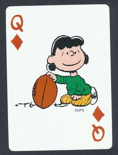 Lucy football Charlie Brown Peanuts playing card single queen of diamonds 1 card