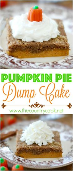 Pumpkin Pie Dump Cake recipe from The Country Cook.