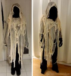 DIY Cheesecloth Ghost Costume by Scratch and Stitch A twist on classic ghost costume for Halloween. These creepy cheesecloth ghost costumes are cheap, easy-to-make, and fun to wear. Couples Halloween, Mascaras Halloween, Creepy Halloween Costumes, Classic Halloween Costumes, Adornos Halloween, Halloween Disfraces, Vintage Halloween, Halloween Makeup, Halloween Stuff