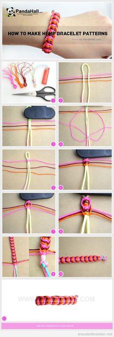 Bracelet fil queue de rat et chanvre, tuto pas à pas