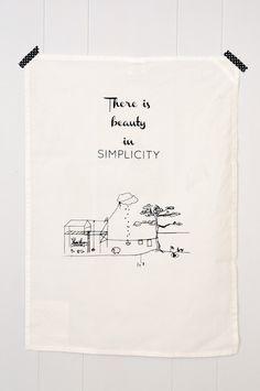 Tea Towel - Simplicity - hand screen printed in Switzerland