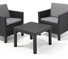 Allibert By Keter Chicago 2 Seat Balcony Lounge Set Outdoor Garden  Furniture   Garden Rattan Furniture
