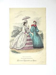 Antique Victorian 1863 fashion print from Dutch fashion magazine, 135 x 205 mm. Nr 39.  Over 150 years old is this fashion print, a hand colored copper engraving. It is from a Dutch magazine for women: Gracieuse, Modes en Handwerken Gracieuse is French for graceful, refined (woman), Modes en Handwerken is Dutch for needlework. Needlework, not only embroidery or lace making, but also knitting, crochet and all sorts of techniques for making clothing and accessories at home was becoming popular…