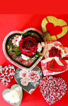 Sweet treats and sweet style for Valentine's Day! Cathie and Steve are altering heart shaped Valentine candy boxes with Mod Podge, vintage style papers, Mega Glitter, sequins, gems and embellishments. Candy Boxes, Party Entertainment, Valentine Day Crafts, Sweet Style, Heart Shapes, Party Favors, Vintage Style, Embellishments, Diy Ideas