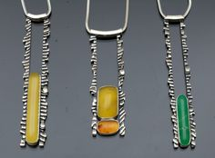 Sterling Silver, Yellow, Fire Opal and Chrysoprase cuttlefish bone cast pendants