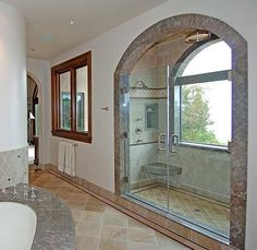Shower with a view - mediterranean - bathroom - los angeles - Susan Jay Design