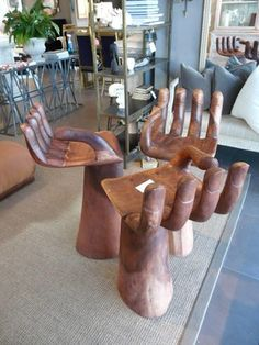 how cool would these hand barstools look in the right kitchen/house at an island!