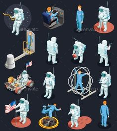 Astronaut isometric people set of isolated human characters with spacesuits various space systems and exercise devices vector illu