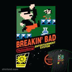 """Breakin' Bad"" by Gabe Strine aka Brinkerhoff    Breaking Bad in the style of Super Mario Bros.    http://shirtoid.com/55747/breakin-bad/"