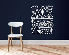 Cycling wall decal / Mountain bike / bicycle art / Inspirational wall decal / Cyclist gift / Bicycle / Outdoors sticker / Cycling decal