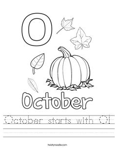 October starts with O Worksheet - Twisty Noodle Learning Time, Kids Learning Activities, Home Learning, Learning Tools, Teaching Ideas, Transportation Worksheet, Letter Of The Week, Flashcard, Homeschool Kindergarten