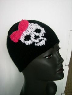 Black Hat with Full Skull & Bow, Beanie, Hat, Skull, Bows, Black, Arches, Black People, Bowties, Beanies