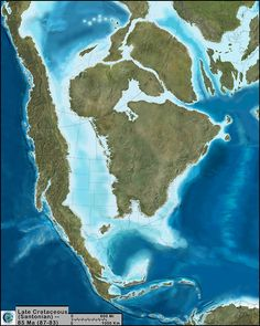 A paleogeographic reconstruction of North America during the Late Cretaceous, 85Ma wriggly_fish:The author has a beautiful map library found here: http://cpgeosystems.com/namkeyframe.html