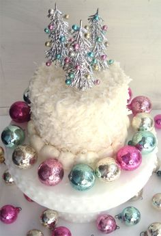 Vintage Christmas Ornaments on a coconut cake