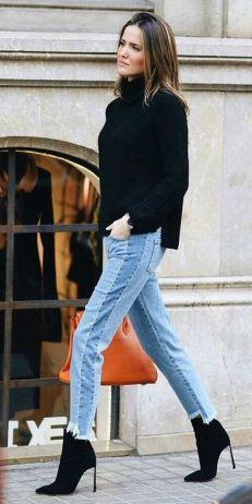 Alex Rivière + chunky black turtleneck sweater + light wash patchwork jeans + black stiletto ankle boots  Boots: Casa Dei. Spring Outfits