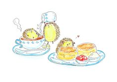 Hedgehogs love cream tea  Wall art  Art print  Kid's art by yuuco