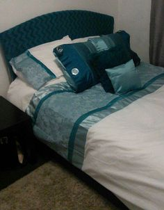 Hand stitched satin blue bed set