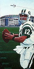 Broadway Joe Namath w/ then home stadium in background Shea Stadium Football Players, Football Team, New York Teams, Sports Painting, Sports Illustrated Covers, Joe Namath, Shea Stadium, American Football League, Sports Gallery