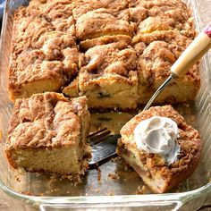 Rhubarb Sour Cream Coffee Cake Recipe -With a tart kick from fresh spring rhubarb this coffee cake is an irresistible way to start the dayor end it! Rhubarb Coffee Cakes, Rhubarb Cake, Rhubarb Desserts, Sweet Desserts, Baking Recipes, Cake Recipes, Dessert Recipes, Pudding Recipes, Brunch Recipes
