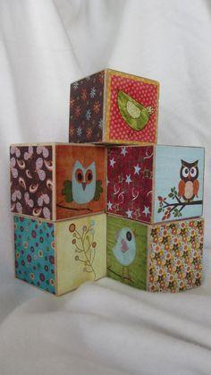 Woodland Animal Owl Doodles Wood Book Blocks