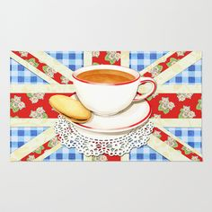 Union Jack and a Cup of Tea Area & Throw Rug  by #PatriciaSheaDesigns on #Society6