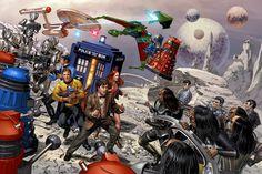 HD wallpaper: star trek tardis dalek spock amy pond james t kirk klingons uss enterprise doctor who alien romulan Space Stars HD Art Star Trek Wallpaper, Hd Wallpaper, Art Doctor Who, 11th Doctor, Crossover, Serie Doctor, James T Kirk, Amy Pond, Dalek