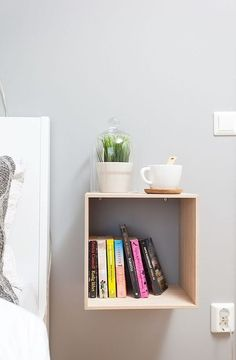 open cabinet attached to the wall will save space and give your storage space
