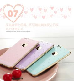 aliexpresscom buy candy color 9h anti explosion tempered front glass screen protector heart printed normal back protector film for iphone 6 47 from - Buy Candy By Color