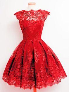 Col rond à la mode Cap manches en dentelle A-ligne de robe pour les femmes