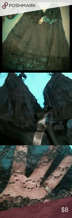 XS black lace and mesh chemise Seductive black nighty!! Cups are covered in lace and the bottom trim is lace the middle is mesh microfiber. Sexy!!!?? Gilligan & O'Malley Intimates & Sleepwear