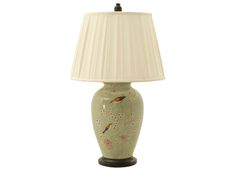 HELENE LAMP  PORCELAIN: LIGHT GRAY SILK SHADE: BLACK LACQUER BASE  Dimensions 17 X 30.5H TO FINIAL